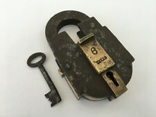 Lock Vintage Solid Iron Brass Big Size Trick Puzzle With Key Push Button Aligarh