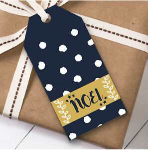 Navy Blue Noel Christmas Gift Tags (Present Favor Labels)
