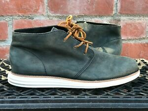 Cole Haan Lunargrand sz 8.5 Dark Green Suede Chukka Ankle Boot LUNAR FREE