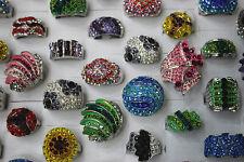 Jewelry Lot 20pcs Huge Crystal Rhinestone Silver P Women's Multicolor Charm ring