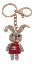Gold Plated Crystal Rabbit Easter Bunny Bag Charm Keyfob Keychain Chunky Keyring