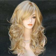 Women Ash Blonde High Density Long Synthetic Hair Weave Full Wig