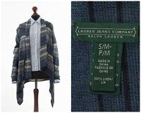 Womens LAUREN RALPH LAUREN Knitted Linen Top Cape Sweater Cardigan Blue Size S/M