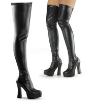 "Pleaser 5"" zip up black matte thigh high boots"