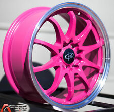 16X7 Rota Fighter 10 Wheels 5X100/114.3  Pink Rims (Set Of 4)
