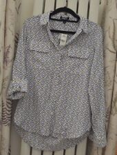 White Blue Black Office Shirt Blouse by Express Size 8 XS Sleeve Collar New Tags