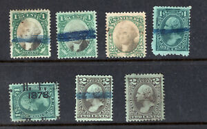 1871-4 U.S.Proprietary Stamp Lot, Assorted RB1 - RB12, Some Nice Cancels