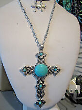 Turquoise stone Stud On Big Silver Tone Cross Pendant Necklace earring Set
