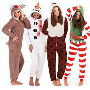1Onesie Womens Girls Onezee Christmas Soft Snuggle Fleece All in One Pyjamas Pjs