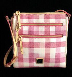 DOONEY & BOURKE Saffiano Leather Large Peyton Crossbody Bag, Quadretto Check NWT