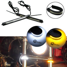 Dual-Color W/A LED Lamp Strips Fork For Motorcycle Turn Signal Daytime DRL Light