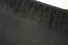 Shawl Antique Black Finely Woven Wool Striped Large Scarf From Late 19th century