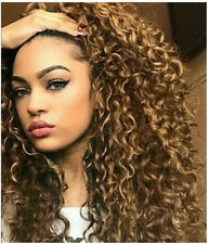 Womens Brown Afro Long Kinky Curly Hair Wavy Wigs Sexy Lace Front Wig Party Wig