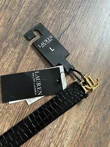 Lauren RL Women Black Leather Belt - L