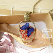 Lovely Butterfly Natural antique bottles Real Dried Flowers Pendant Necklace Hot