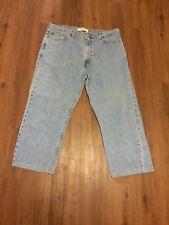 Levis 505 Mens Jeans 40x27 Hemmed Regular Fit Zip Fly Denim Dungarees Red Tab