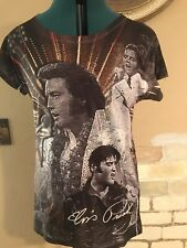 NWT The ELVIS Print all Shirt Size XXL S/Sleeve Picture & Small Faceted Stones T