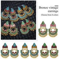 Women Vintage Bohemian Carved Beads Tassel Flower Drop Dangle Ear Stud Earrings