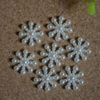 100Pcs Snowflake Flatback Pearl Embellishments Christmas Craft  DIY Tools