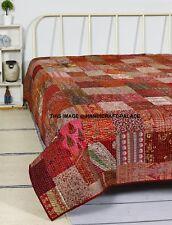 Kantha Quilted Patchwork Reversible Vintage Washed 100% Silk Quilt Bedspread