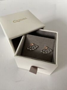 Clogau Gold, Silver & Rose Gold White Peacock Stud Earrings RRP £149