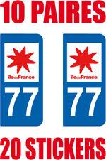 20 STICKERS AUTOCOLLANT DEPARTEMENT 77 PLAQUE IMMATRICULATION