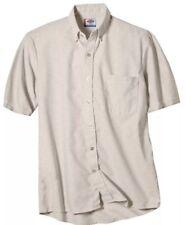 dickies Men's Tan work shirt Size 19-19 1/2 Regular Short Sleevess Botto Down