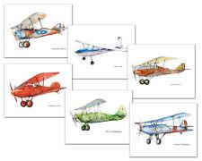 Vintage Plane Boy Nursery Decor Set 6 prints Aviation theme art