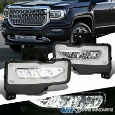 GMC 16-18 Sierra 1500 Pickup Clear LED Fog Lights Driving Bumper Lamps w/ Switch