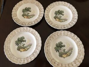 "American Limoges Chateau France 22k Gold 7""Salad Plates Set Of 4. Used"