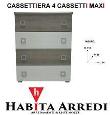 Cassettiera 4 Cassetti Maxi Moderna Colori Larice Bianco Olmo Grigio Economico