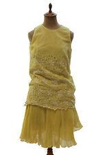 Vintage Womens 1960s 1970s Lemon Yellow Eyelet Drop Waist Dress Retro Mod Era