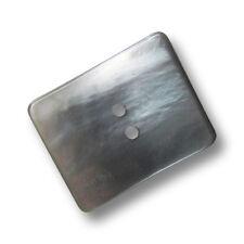 3 originelle große perlmuttartig graue rechteckige Mantel Knöpfe (1238gr-27x34)