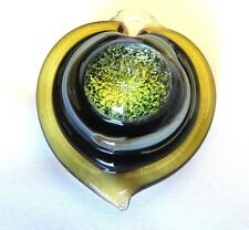 MURANO GLASS Large  PUFFED HEART PENDANT Gold Green and Black
