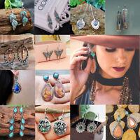 Boho Turquoise Dangle Ear Hook Hoop Women Jewelry Vintage Earrings Drop Gift