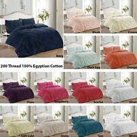 Pinch Pleat Pintuck 100% Cotton Quilt Duvet Cover Set Single Double Super King