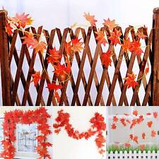 Elegant 2.3M Red Autumn Leaves Garland Maple Leaf Vine Fake Foliage Home Decor