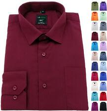 Men's Shirt Regular Fit Plain cotton Easy care Formal collar Casual Long Sleeve