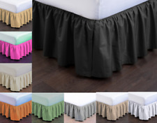 "NEW MODERN SOLID DUST RUFFLE SPLIT CORNERS 1PC BED BEDDING PLEATED SKIRT 14""DROP"