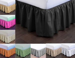 MODERN SOLID DUST RUFFLE SPLIT CORNERS 1PC BED BEDDING PLEATED SKIRT DROP