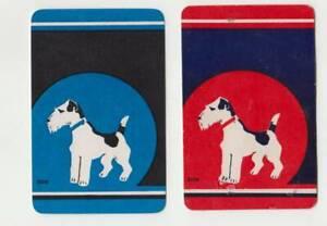 B106 Vintage swap cards pair of fox terriers dogs early aussies