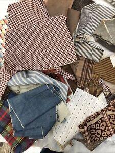 Vintage 1800's Antique Cotton Quilt Dress Fabrics Scraps Dolls  Madder Brown