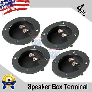 4 PC SUBWOOFER SPEAKER ROUND BOX TERMINAL SCREW CUP PLATE CONNECTOR BINDING POST