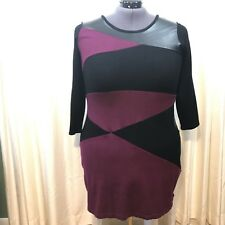 Alfani Tunic Dress Plum And Faux Leather Details 3/4 Sleeves Plus Size 0X
