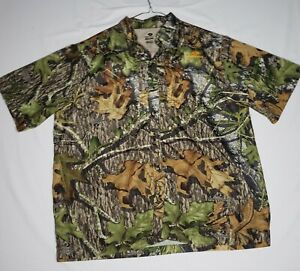 Mossy Oak Obsession Men XL Camo Hunting Shirt Short Sleeve Button Down Vented