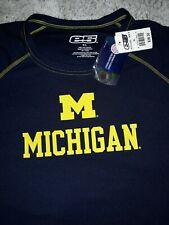 Mens E5 Michigan Wolverines  Logo T Shirt Navy Size XL 100%POLYESTER