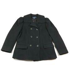 Vintage Ralph Lauren Pea Coat Jacket Size 14 Wool Cashmere Black Double Breasted