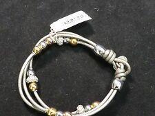 Fossil Brand Silver Glitz Barrel Leather Wrist Wrap JA6067998 -  NWT