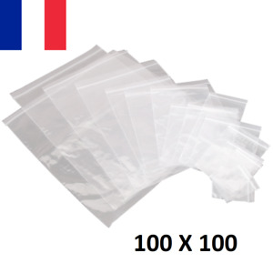 Lot 100X Sachet Zip Plastique 100x100mm 10x10cm Transparent Pochon 50u