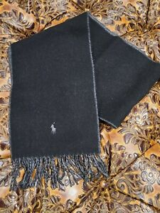 POLO RALPH LAUREN MEN'S TWO SIDED BLACK AND GRAY SCARF  NWT
